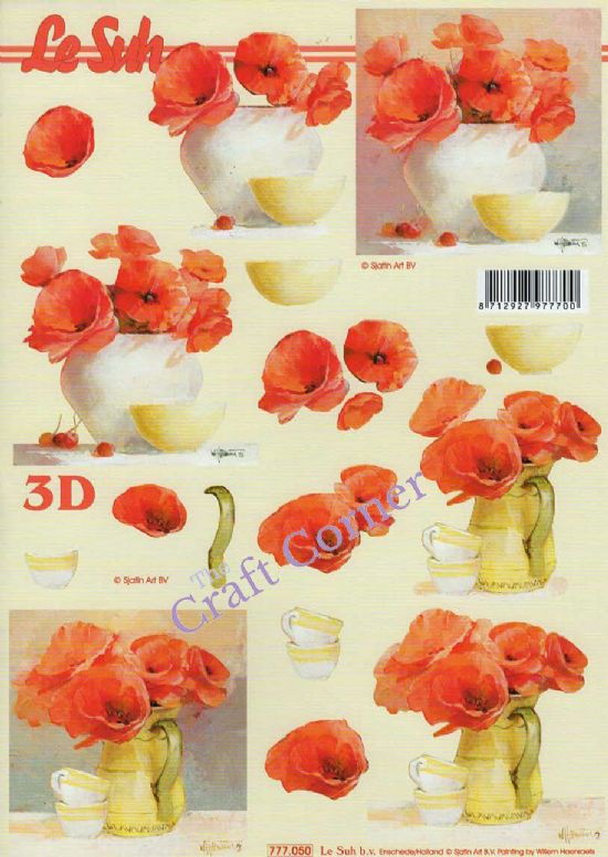 Poppy Flowers In Vases 3d Decoupage Sheet